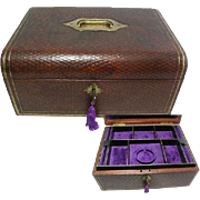 Beautiful Large Victorian Morocco Brown Leather Jewelry Box,. Fitted with Two Trays. All Original