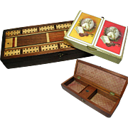 Antique Inlaid Mahogany Cribbage Games Box. With Playing Cards