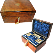 English Victorian Walnut Box. Brass Inlaid. C 1870. Original Interior: Tray; Blue Satin Silk. Sewing Box or Jewellery Box