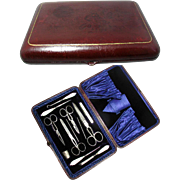 English Antique Mother of Pearl Sewing Set in Leather Case Circ. 1890 - 1900. Original Velvet and Satin Silk Lined