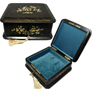 19th Century Chinoiserie Jewelry Box. French. Lock and Key. Silk Interior.