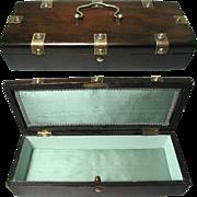 Pretty Brass Mounted Antique Jewelry Box. Silk Lining