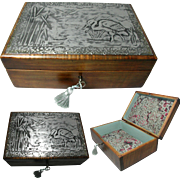 English Arts & Crafts Satin Wood Jewelry Box with Embossed Pewter Top in a Stork & Dragon Fly Design. Circ 1900