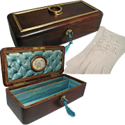 Antique French Casket, Jewelry Box / Glove Box. Mounted with Gilded Bronze Handle: Silk Interior. Also Fine Kid Gloves