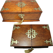 English Oak Cigar Box or Table Casket. Brass Mounted. Lock and Key.