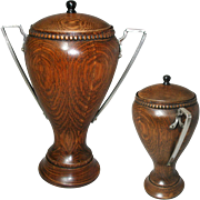Elegant Solid Oak Urn with a Metal Liner. Early Art Deco circ. 1920s. Silver Plated Handles