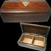 English Solid Oak Art Deco Box. Plated Shield Shaped Cartouche. Interior Compartments