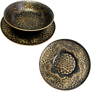 Antique Papier Mache Fruit Bowl and Plate: Aesthetic Movement: Gold Painted Stylised Chrysanthemum Pattern