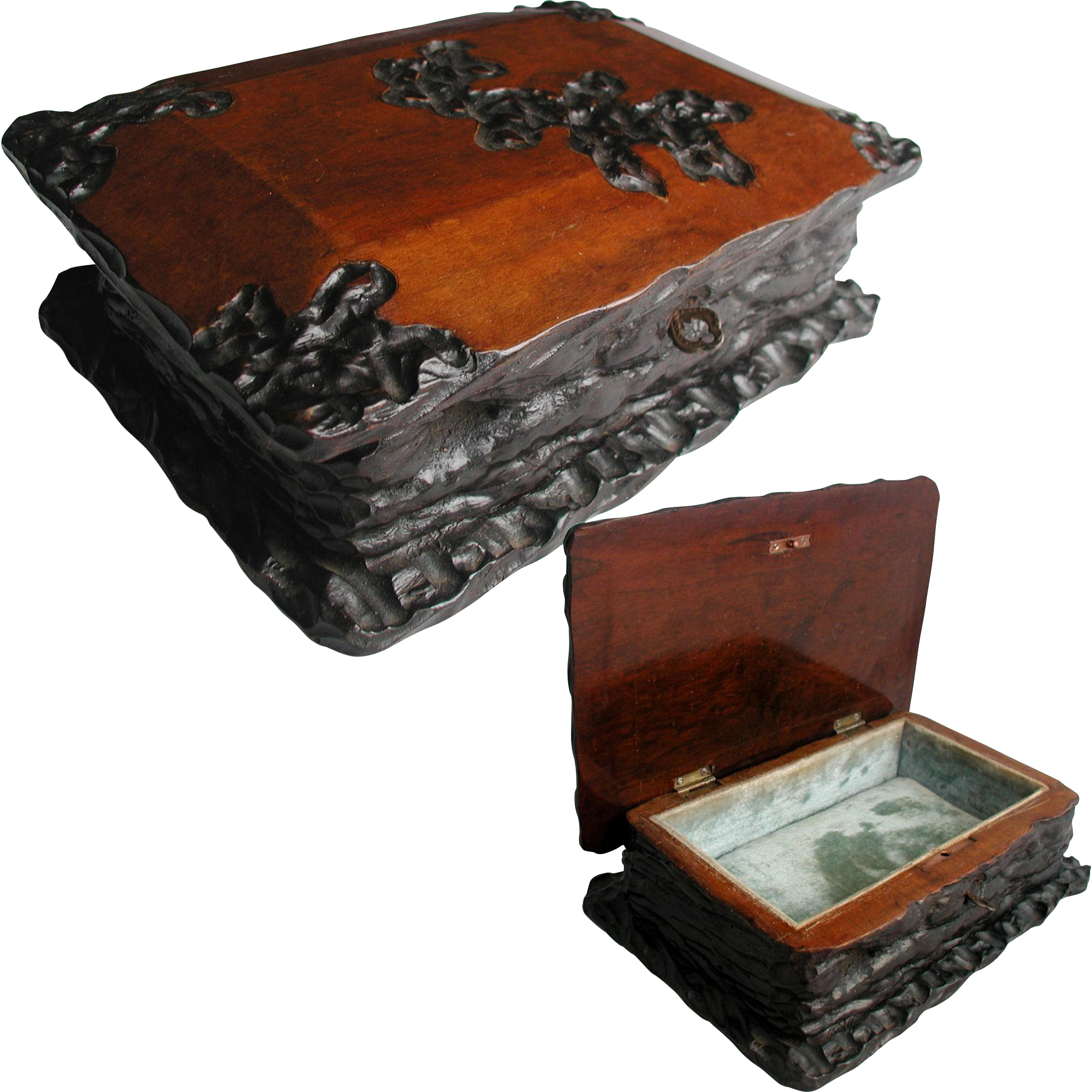 Antique Jewelry Box Hand Made Folk Art From