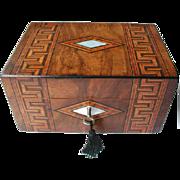 Victorian Tunbridge Ware Banded Walnut Box. C 1880. Original Silk Interior and Tray. Sewing Box or Jewellery Box
