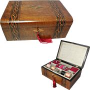 Antique Sewing Box. Tunbridge Style Banded Inlay. Sewing Tools
