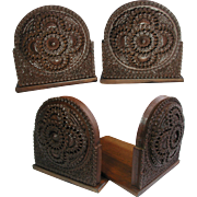 Carved Wooden Folding Bookends: Art Deco Style: 1920s/30s. Anglo Indian Hand Made