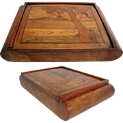 Walnut Inlaid Box. Italian, Art Deco 1920s/30s. Marquetry Top.