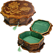 Art Nouveau Jewelry Box: Flemish Pokerwork, Pyrography. 1900.