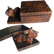 Art Deco Hand Carved Wooden Scottie Dog Box. 1930s