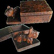 Art Deco Hand Carved Wooden Scottie Dog Box. 1930s