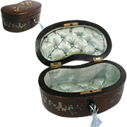Antique French Jewelry Box. Kidney Shaped. Birds Eye Burr Wood Surface. Hand Painted. Original Satin Silk Padded Interior