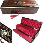 Superb French Glove Box / Jewelry Box. Burr (Burl) Wood Veneer. Brass Inlay.