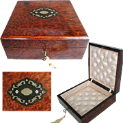 Antique French Handkerchief Box: Jewelry Box: Lovely Condition: Inlaid Brass: Original Silk Lining