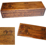 Antique Flemish Poker Work Box. Pyrography Burnt Wood Decoration & Pen Work Illustration. Very Charming