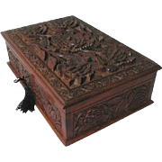 Antique Carved Hardwood Jewelry Box c.1880. Original Interior Tray. English or Anglo-Indian
