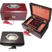 Antique Red Morocco Leather Jewelry Box. Fitted Tray