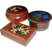 Small Hand Painted European Folk Art Wooden Trinket Boxes