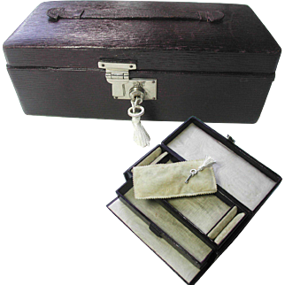 Morocco Leather Traveling Jewelry Box with Little Drawer Inside. Original Silk and Velvet Interior.