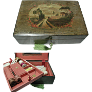 Antique Sewing or Lace Box. C 1890. Painted Decoration. Tray, Sewing Items, Crochet Hooks, Bodkins, Stilleto, Lace Pieces, Embroidery Silks & Cottons