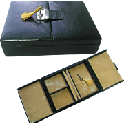 Morocco Leather Traveling Box with Interior Tray. Velvet Interior