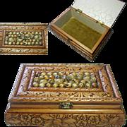 Vintage Wooden Jewelry Box. Hand Made. Shell Work Decoration. Velvet Interior