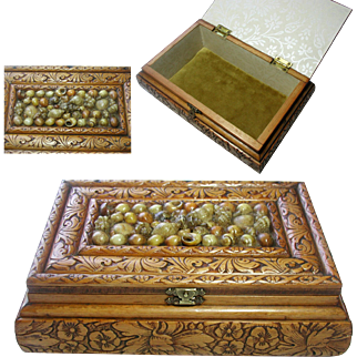 Vintage Wooden Jewelry Box. Hand Made. Shell Work Decoration. Velvet Interior