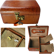 Vintage Leather Jewelry Box with Key. Quality Pig Skin. Plus Men's Diamond Cut Crystal Dress Shirt Studs