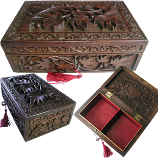 Antique Carved Wooden Box. Anglo-Indian