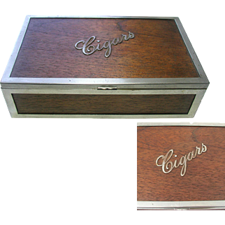 Cigar Box. Wooden with Plated Metal Frame.