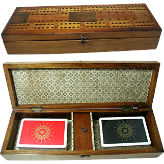 Antique Cribbage Box: Inlaid Top. Contains Cards, Pegs & Dice