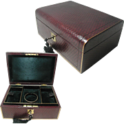 Antique Jewelry Box;  Quality Morocco Leather. Beautiful Original Silk Interior