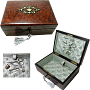 Antique French Jewelry Box /  Necessaire. Fitted Tools