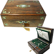 Antique Box, English Victorian: With Brass & MOP inlay. Fitted Interior. All Original.