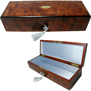 Antique Burr Wood Jewelry / Glove Box. Brass Inlaid / Silk LIned