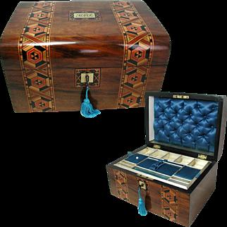 Antique Inlaid Marquetry Banded Box. All Original Interior Tray & Silk