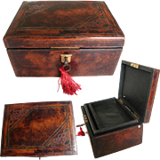 Thick Leather Embossed Jewelry Box. Unusual