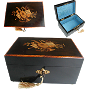 Antique French Jewelry Box: C19th : Inlaid Marquetry: Silk Interior
