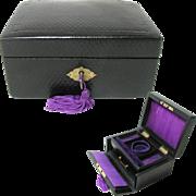 Small Antique Leather Jewelry Box. Original Silk. Lock and Key