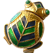 Fantastic Frog Figurine-Tape Measure with Blue & Green Enamel: Florenza for Rosenfeld
