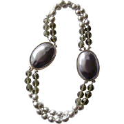 YSL Yves Saint Laurent Amazing Twin Bracelets-cum-Necklace, with Grey Pearls & Crystals