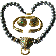Famous 'Duchess of Windsor' Jeweled Panther Parure, 1988 KJL (Kenneth Jay Lane) for Avon