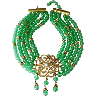 Victorian-Style Faux Emerald & 'Diamanté' Festoon Necklace,  Rare DeNicola