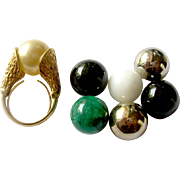 Trifari Modernist Ring with Interchangeable 'Gems', in Original Box
