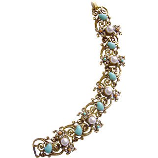 Lyrical Art Nouveau Revival Bracelet with Faux Turquoise, Pearls & Corals
